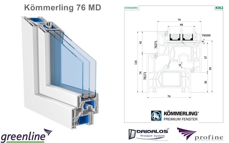 KÖMMERLING 76 AD/MD műanyag ablak szerkezete közelről, Kömmerling 76 MD, Standard, KN2 felirat, Greenline, Profine, Daidalos, Kómmerling logó