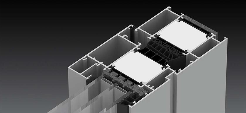 Olympia HI alumínium ablak szerkezete közelről, hőszigetelő hő híddal felszerelve