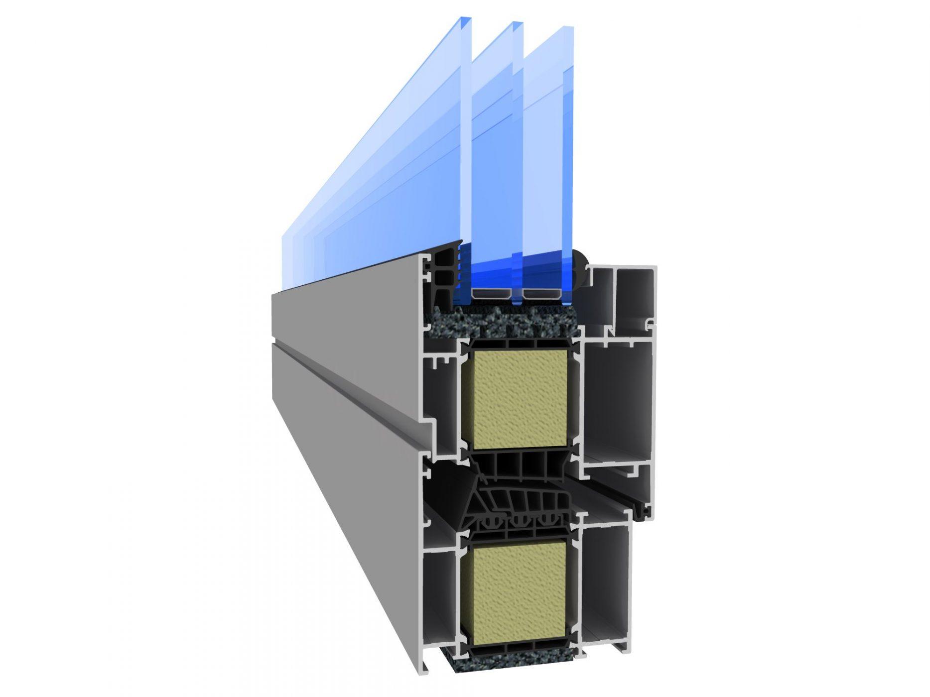 Olympia HI ablakrendszer szerkezete profilból