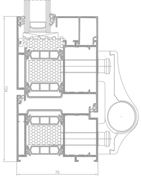 Superial 800 i+ alumínium bejárati ajtó keresztmetszete tervrajz