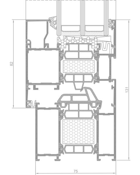 Superial i+ ALIPLAST ablak profilok, az alumínium nyílászáró metszetének a tervrajza
