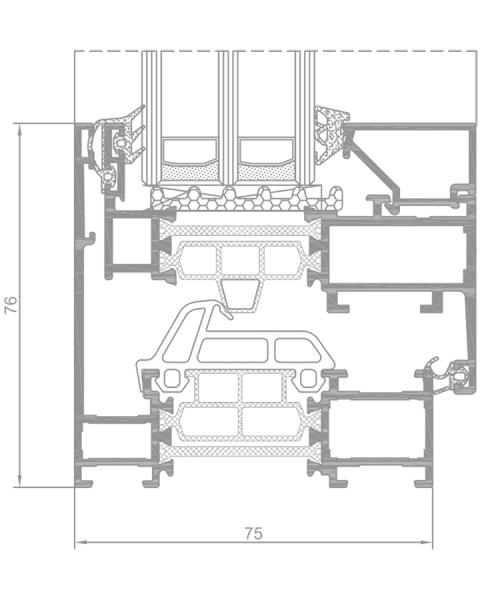 Superial SUi ALIPLAST ablak profil, az alumínium nyílászáró metszetének a  tervrajza