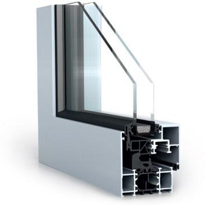 Alumínium WICONA WICLINE 65 ablakok rejtett levéllel szerkezete közelről