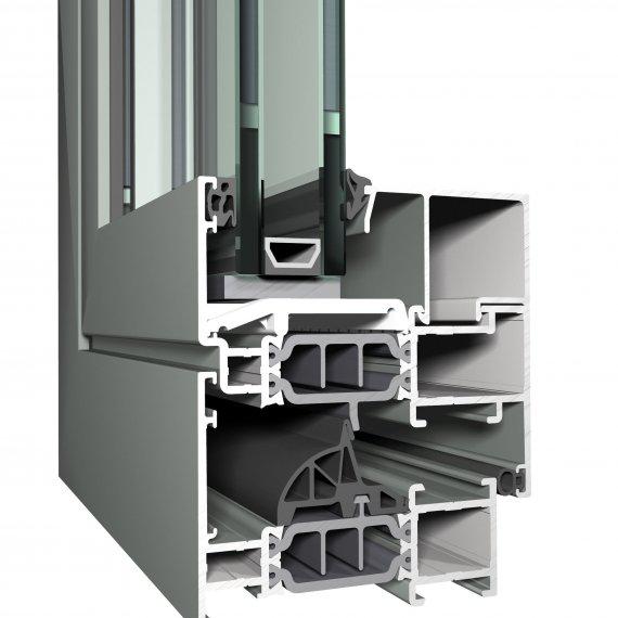 REYNAERS CS 77 alumínium nyílászáró szerkezete közelről