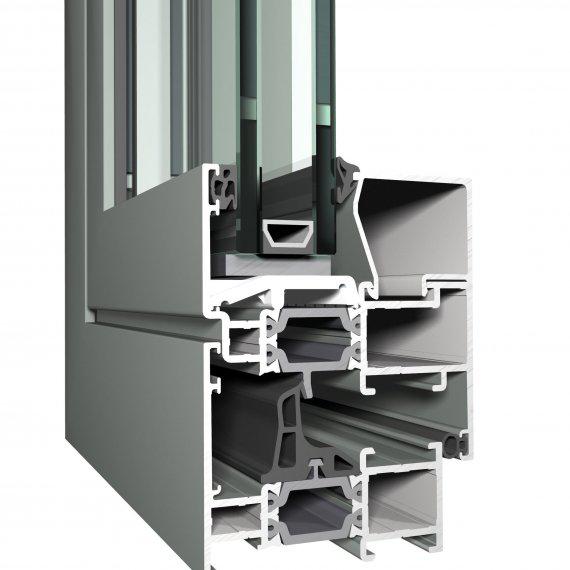 REYNAERS CS 68 alumínium nyílászáró szerkezete közelről