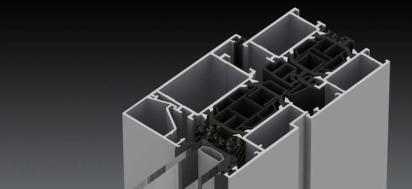 Blyweert Triton HI+ alumínium bejárati ajtó szerkezete közelről, modern hőhíd-megszakítással