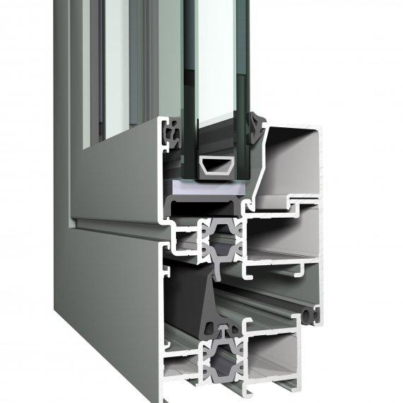 REYNAERS CS 59 alumínium nyílászáró szerkezete közelről