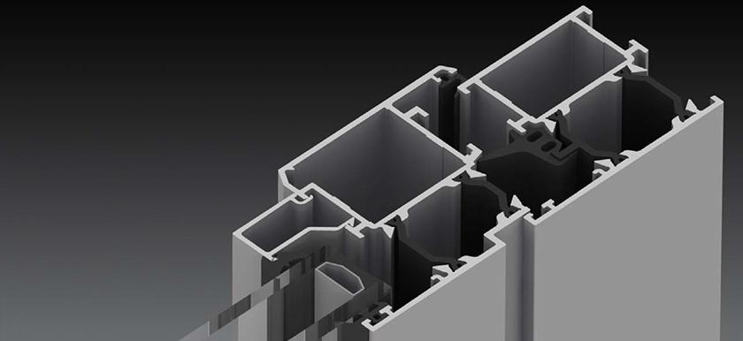 Blyweert Apollo gazdaságos alumínium bejárati ajtó szerkezete közelről, megszakított hőhíddal
