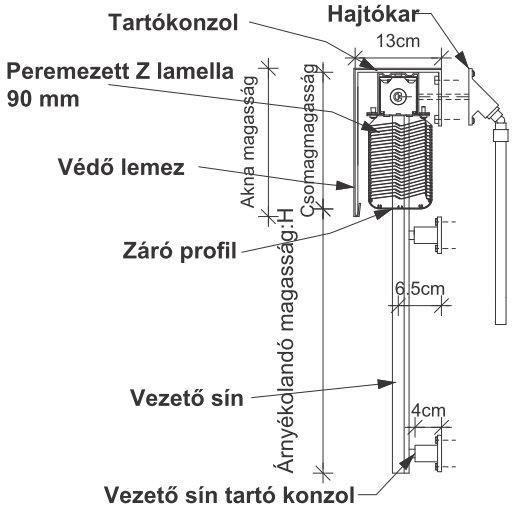 Z lamellás zsaluzia - Z 90 RL technikai leírások és tervrajz